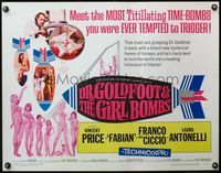 4v631 DR. GOLDFOOT & THE GIRL BOMBS 1/2sh '66 Mario Bava, Vincent Price & sexy half-dressed babes!