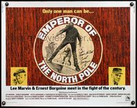4v638 EMPEROR OF THE NORTH POLE signed 1/2sh '73 by Ernest Borgnine, cool artwork with Lee Marvin!
