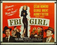 4v647 FBI GIRL 1/2sh '51 sexy full-length image of Audrey Totter with gun, a woman on a man-hunt!