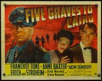 4v656 FIVE GRAVES TO CAIRO style B 1/2sh '43 Billy Wilder, close up of Nazi Erich von Stroheim!