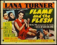 4v657 FLAME & THE FLESH style B 1/2sh '54 sexy brunette bad girl Lana Turner, plus Pier Angeli!