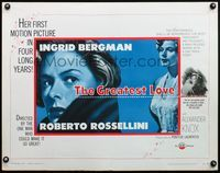 4v693 GREATEST LOVE 1/2sh '54 great art of Ingrid Bergman, Roberto Rossellini's Europa '51!