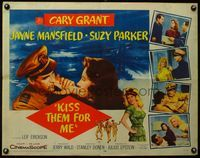 4v744 KISS THEM FOR ME 1/2sh '57 romantic art of Cary Grant & Suzy Parker + sexy Jayne Mansfield!