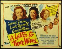 4v759 LETTER TO THREE WIVES 1/2sh '49 Jeanne Crain, Linda Darnell, Ann Sothern, young Kirk Douglas!