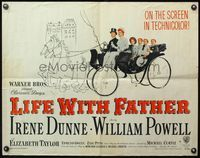 4v760 LIFE WITH FATHER style B 1/2sh '47 art of William Powell & Irene Dunne w/family in carriage!