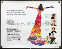 4v768 MAHOGANY 1/2sh '75 cool art of Diana Ross, Billy Dee Williams, Anthony Perkins, Aumont