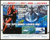 4v888 SPY WHO LOVED ME 1/2sh '77 cool artwork of Roger Moore as James Bond by Bob Peak!
