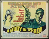 4v894 STUDY IN TERROR 1/2sh '66 art of Neville as Sherlock Holmes, the original caped crusader!
