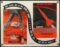 4v898 SUNDOWNERS/DESTINATION MOON 1/2sh '54 western/sci-fi double-bill, show of shows!