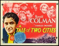 4v902 TALE OF TWO CITIES 1/2sh R62 full-color close up of Ronald Colman + top cast portraits!