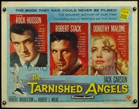4v904 TARNISHED ANGELS 1/2sh '58 close portaits of Rock Hudson, Robert Stack, & Dorothy Malone!