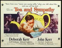 4v906 TEA & SYMPATHY style B 1/2sh '56 close up of Deborah Kerr & John Kerr, classic tagline!