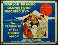 4v907 TEAHOUSE OF THE AUGUST MOON 1/2sh '56 art of Asian Marlon Brando, Glenn Ford & Machiko Kyo!