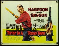 4v911 TERROR IN A TEXAS TOWN 1/2sh '58 great artwork of Sterling Hayden holding huge harpoon!