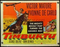 4v926 TIMBUKTU style B 1/2sh '59 art of Victor Mature on horseback w/rifle, Yvonne De Carlo!