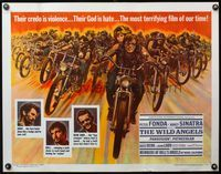 4v981 WILD ANGELS 1/2sh '66 classic image of biker Peter Fonda & sexy Nancy Sinatra on motorcycle!
