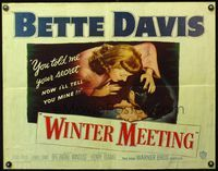 4v987 WINTER MEETING style B 1/2sh '48 Bette Davis was never happier to be next to Jim Davis!