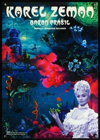 4v026 BARON PRASIL Japanese '04 directed by Karel Zeman, pretty lady holding rose & w/sci-fi art!
