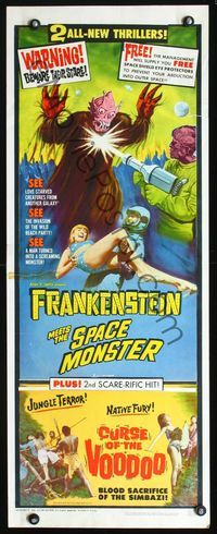 4w177 FRANKENSTEIN MEETS SPACE MONSTERCURSE OF VOODOO insert 65 cool artwork of alien monsters