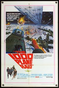 5e003 1000 PLANE RAID 1sh '69 Christopher George, cool huge WWII airplane battle art!