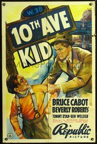 5e001 10th AVE KID 1sh '37 art of Bruce Cabot & Tommy Ryan in Hell's Kitchen!