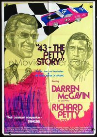 5e010 43: THE RICHARD PETTY STORY 1sh '72 art of NASCAR race car driver Darren McGavin!