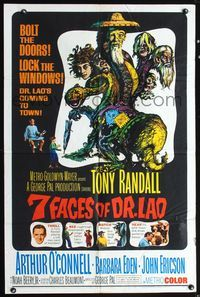 5e011 7 FACES OF DR. LAO 1sh '64 great art of Tony Randall's personalities by Joseph Smith!