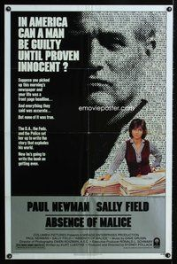5e012 ABSENCE OF MALICE 1sh '81 Paul Newman, Sally Field, Sydney Pollack, cool design!