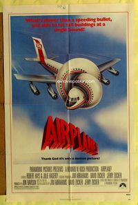 5e015 AIRPLANE 1sh '80 classic zany parody by Jim Abrahams and David & Jerry Zucker!