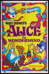 5e018 ALICE IN WONDERLAND 1sh R74 Walt Disney, wild psychedelic artwork of characters!