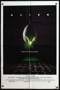 5e019 ALIEN 1sh '79 Ridley Scott outer space sci-fi monster classic, cool hatching egg image!