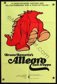 5e025 ALLEGRO NON TROPPO 23x34 1sh '76 Bruno Bozzetto, great wacky dinosaur cartoon artwork!