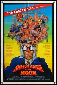 5e028 AMAZON WOMEN ON THE MOON 1sh '87 Joe Dante, cool wacky artwork of cast by William Stout!