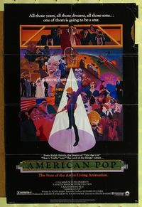 5e029 AMERICAN POP 1sh '81 cool rock & roll art by Wilson McClean & Ralph Bakshi!