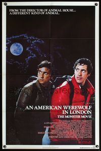 5e030 AMERICAN WEREWOLF IN LONDON 1sh '81 John Landis, David Naughton, Griffin Dunne!