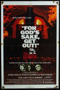 5e031 AMITYVILLE HORROR 1sh '79 AIP, great image of haunted house, for God's sake get out!