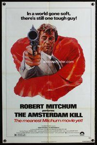 5e032 AMSTERDAM KILL 1sh '78 John Solie artwork of tough guy Robert Mitchum pointing revolver!