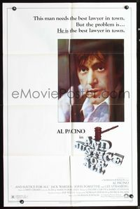 5e033 AND JUSTICE FOR ALL 1sh '79 directed by Norman Jewison, Al Pacino is out of order!