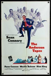 5e034 ANDERSON TAPES 1sh '71 art of Sean Connery & gang of masked robbers, Sidney Lumet directed!