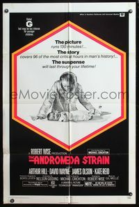 5e037 ANDROMEDA STRAIN 1sh '71 Michael Crichton novel, Robert Wise directed, Arthur Hill