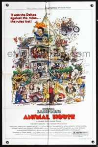 5e038 ANIMAL HOUSE style B 1sh '78 John Belushi, Landis classic, art by Nick Meyerowitz!