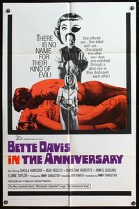 5e040 ANNIVERSARY 1sh '67 Bette Davis with funky eyepatch in English horror!