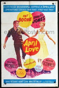 5e043 APRIL LOVE 1sh '57 full-length romantic art of Pat Boone & sexy Shirley Jones!