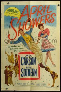 5e044 APRIL SHOWERS 1sh '48 colorful art of Jack Carson & Ann Sothern in musical!