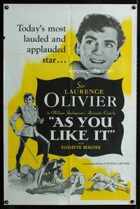 5e046 AS YOU LIKE IT 1sh R50s William Shakespeare play, Sir Laurence Olivier!