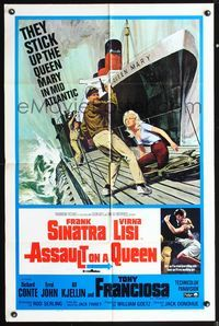 5e047 ASSAULT ON A QUEEN 1sh '66 art of Frank Sinatra w/pistol & sexy Virna Lisi on submarine deck!