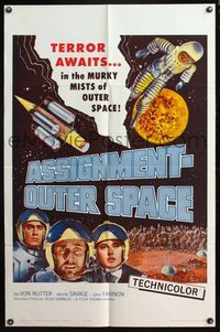 5e048 ASSIGNMENT-OUTER SPACE 1sh '62 Antonio Margheriti directed, Italian sci-fi Space Men!