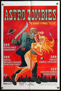 5e049 ASTRO-ZOMBIES 1sh R71 great wild art of creature attacking sexy girl w/huge knife!
