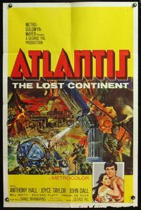 5e050 ATLANTIS THE LOST CONTINENT 1sh '61 George Pal underwater sci-fi, Smith fantasy art!