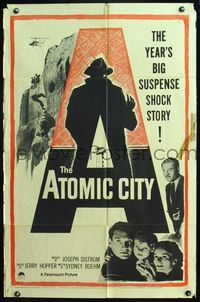 5e051 ATOMIC CITY 1sh '52 Cold War nuclear scientist Gene Barry in the big suspense shock story!